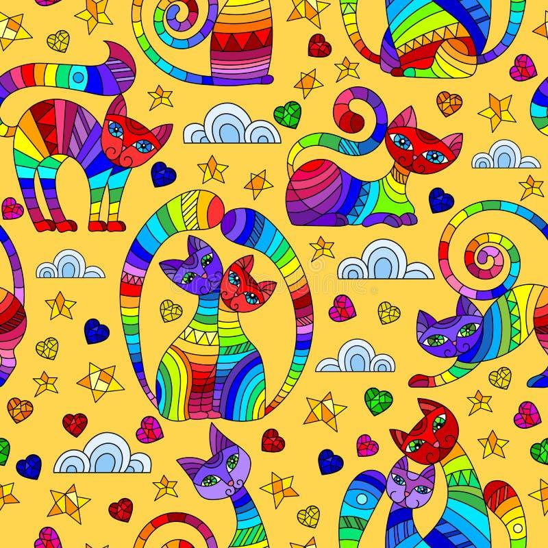 Sömlös illustration med ljusa abstrakta katter, stjärnor och hjärtor, färgteckningar på gul bakgrund vektor illustrationer
