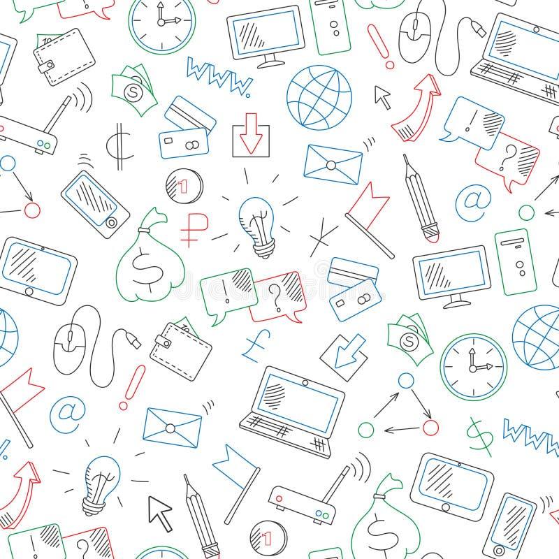 Sömlös illustration på en temaaffär på internet och informationstekniken som dras med kulöra markörer på den vita backgroen royaltyfri illustrationer