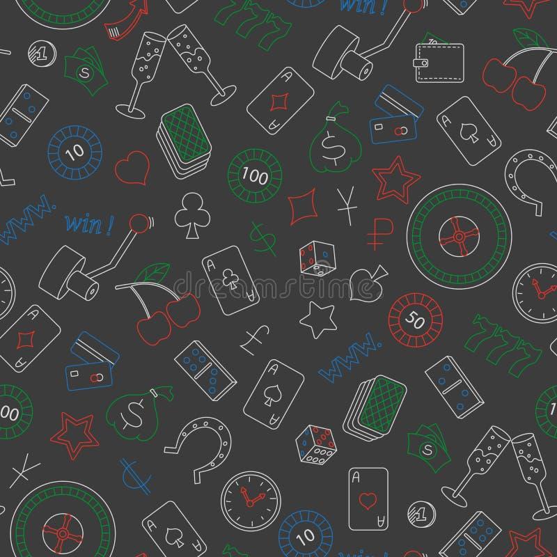 Sömlös illustration på temat av enkla kulöra kontursymboler för dobbleri och för pengar på vit bakgrund, kulöra chalks på Det royaltyfri illustrationer
