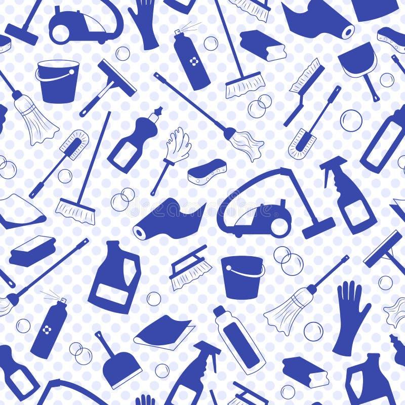 Sömlös illustration på temat av lokalvård- och för hushållutrustning och lokalvårdprodukter, blåa konturer av symboler på lodisar stock illustrationer