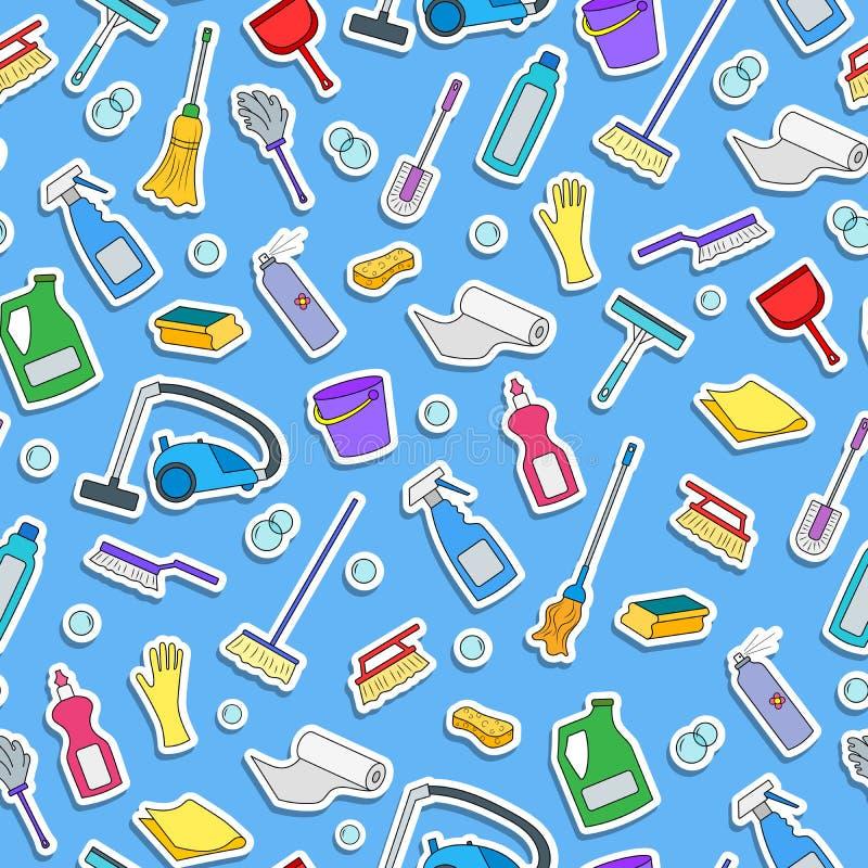 Sömlös illustration på temat av lokalvård- och för hushållutrustning och lokalvårdprodukter, färgsymboler på blå bakgrund stock illustrationer