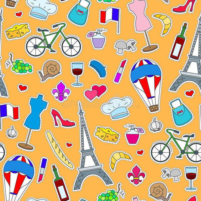 Sömlös illustration på temat av loppet i landet av Frankrike, enkla symbolslappar, de färgade symbolerna på en apelsin tillbaka vektor illustrationer