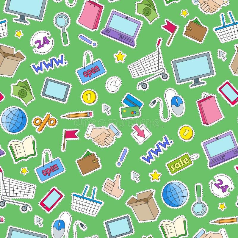 Sömlös illustration på temat av online-shopping och internetdiversehandel, de kulöra lappsymbolerna på grön bakgrund stock illustrationer
