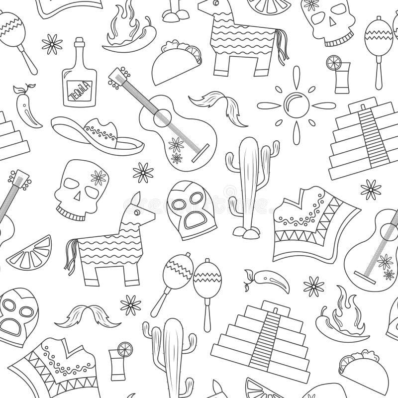 Sömlös illustration på temat av rekreation i landet av Mexico, kontursymboler på vit bakgrund stock illustrationer