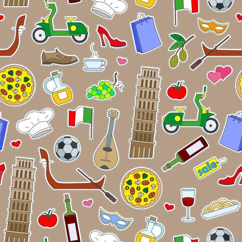 Sömlös illustration på temat av resan i landet av Italien, enkla kulöra symbolslappar på en brun bakgrund stock illustrationer