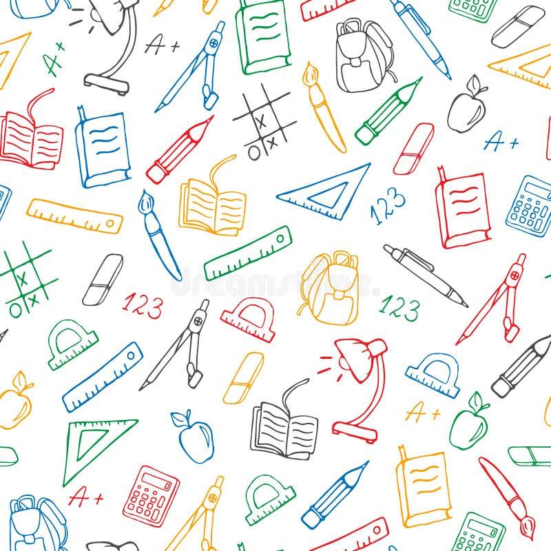 Sömlös illustration på temat av skolan, enkla hand-drog symboler för en kontur, kulöra markörer på en vit bakgrund royaltyfri illustrationer