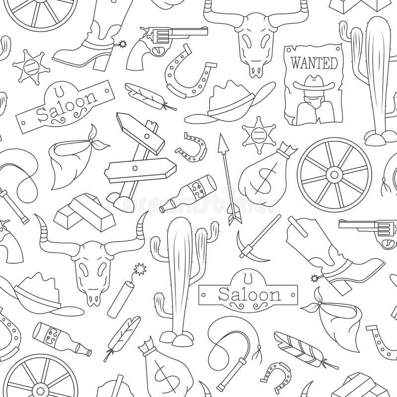 Sömlös illustration på temat av vilda västern, kontursymboler, svart kontur på vit bakgrund stock illustrationer