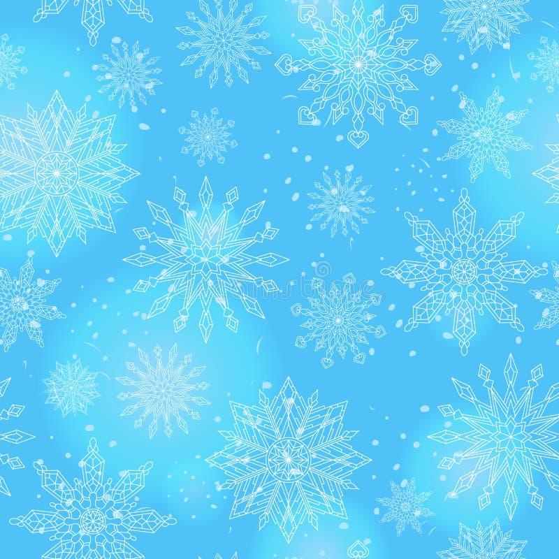 Sömlös illustration på temat av vintern och vinterferier, konturen av snöflingan och signalljus, vita snöflingor på en bl stock illustrationer