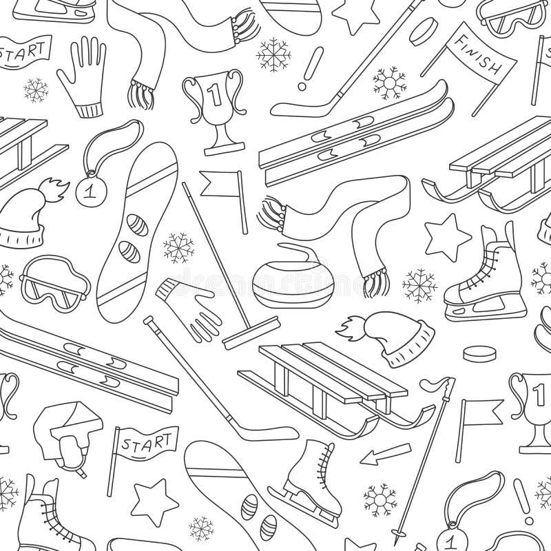 Sömlös illustration på temat av vintersportar, enkla kontursymboler på bollbakgrund vektor illustrationer