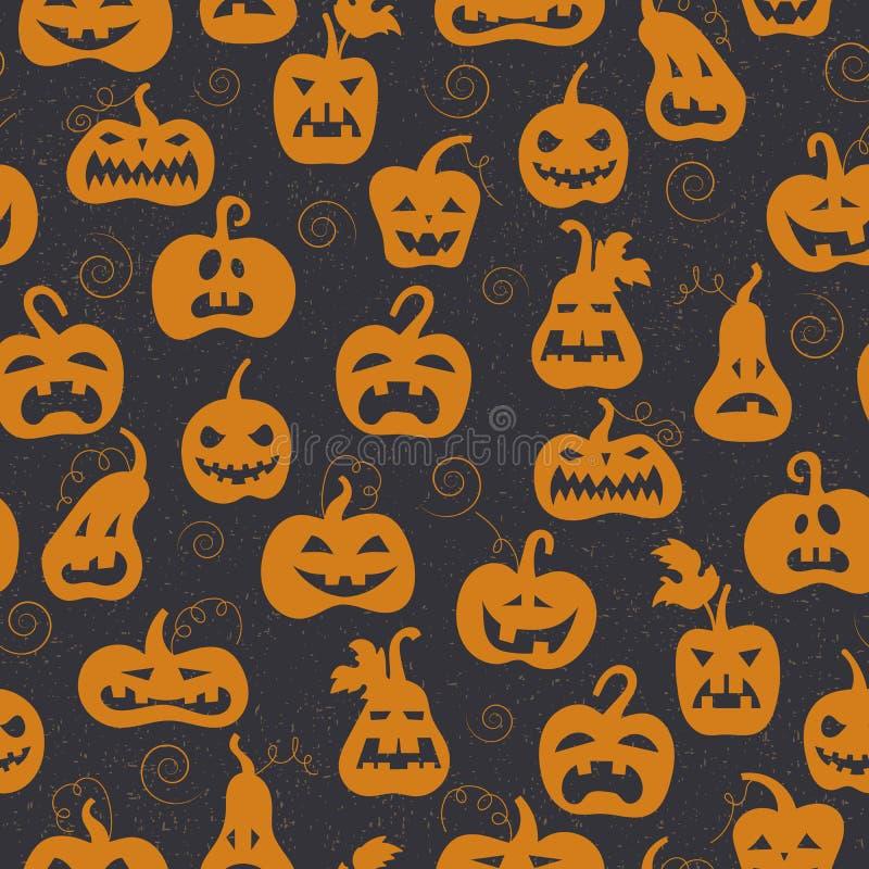 Sömlös illustration till allhelgonaaftonen, orange pumpor på en mörk bakgrund vektor illustrationer