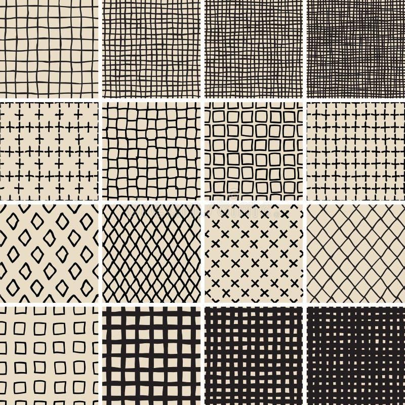 Sömlös ingen modelluppsättning för grundläggande klotter 7 i svartvitt stock illustrationer