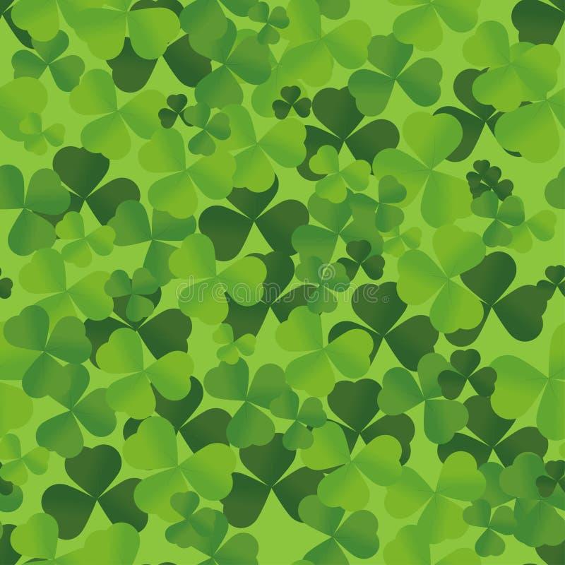 Sömlös irländaregräsplanmodell med växt av släktet Trifolium Modell för St Patrick Day Lyckligt symbol för traditionell treklöver vektor illustrationer