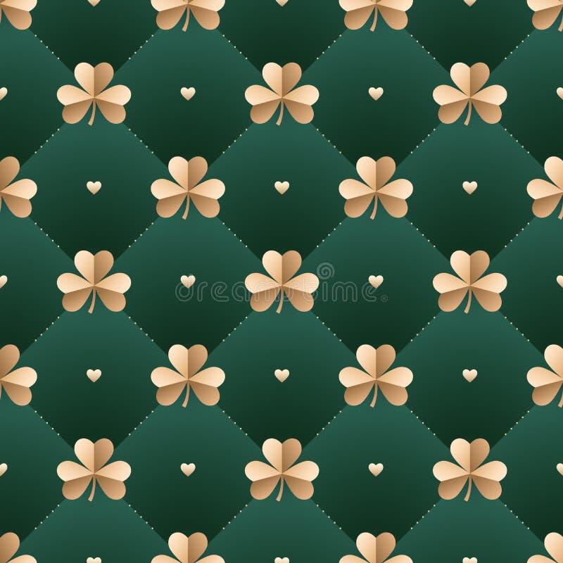 Sömlös irländsk guld- modell med växt av släktet Trifolium och hjärta på ett mörker - grön bakgrund Modell för St Patrick Day ock stock illustrationer
