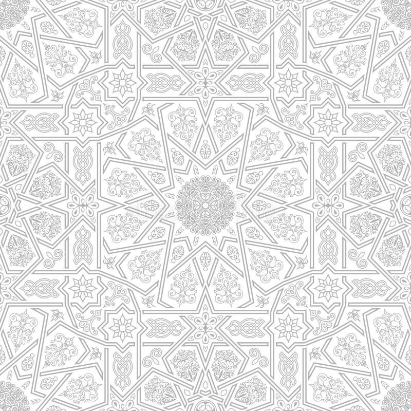 Sömlös islamisk marockansk modell Arabisk geometrisk prydnad royaltyfri illustrationer