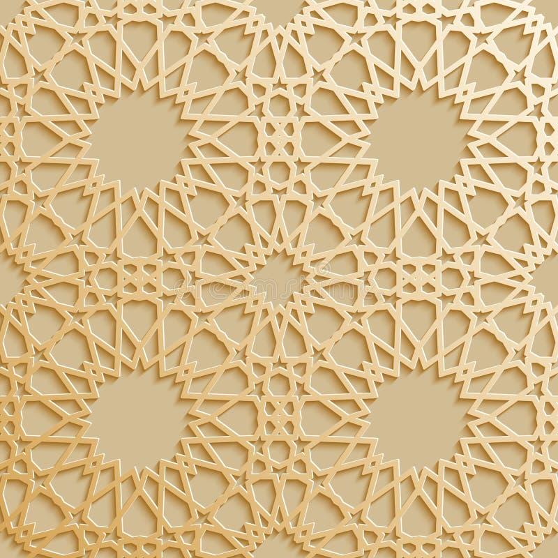 Sömlös islamisk modell 3d Traditionell arabisk designbeståndsdel vektor illustrationer
