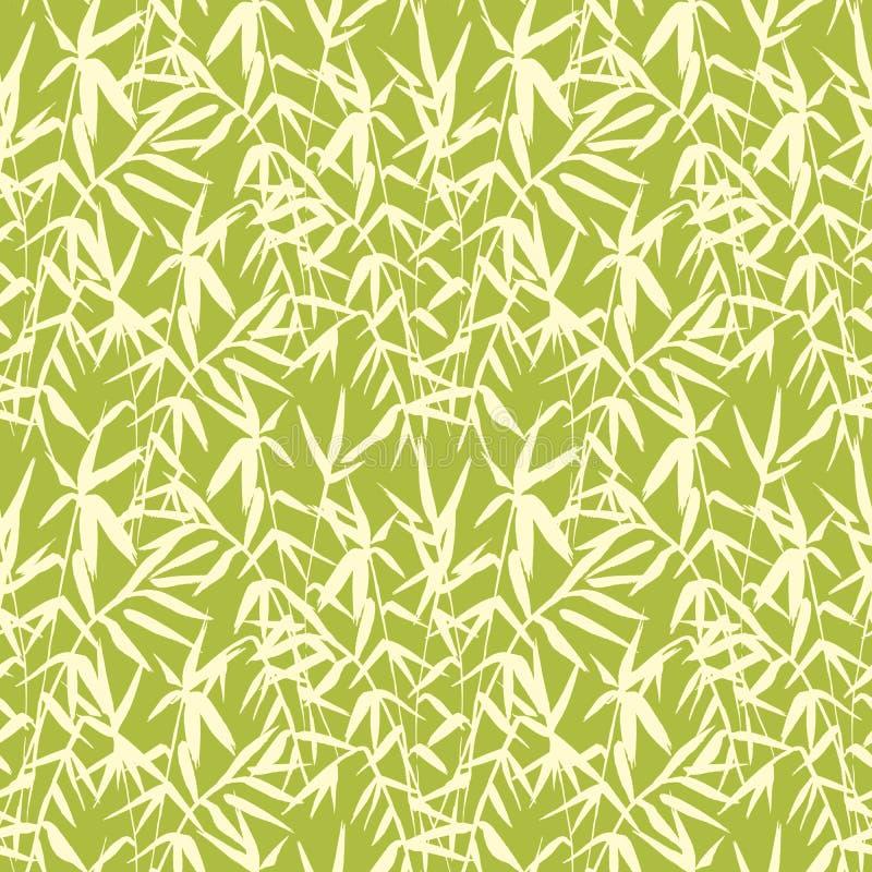 Sömlös japansk modell för bambu på grön bakgrund royaltyfri illustrationer