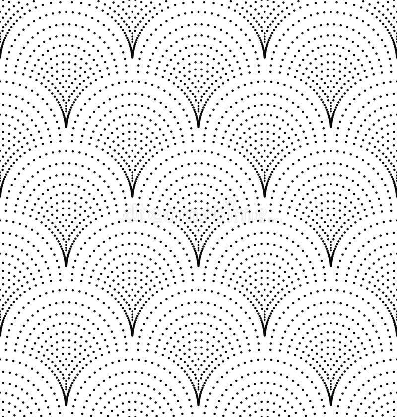 Sömlös japansk vågmodell av prickar stock illustrationer