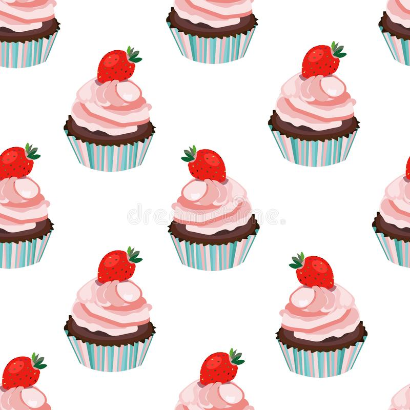 Sömlös jordgubbemuffin för vektor, kaka, muffintryck, modell, bakgrund Mjuka rosa och blåa färger stock illustrationer