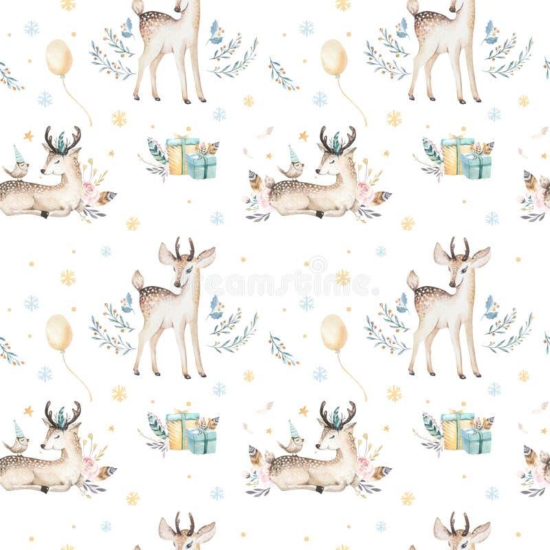 Sömlös jul behandla som ett barn den sömlösa modellen för hjortar Hand dragen vinterbackgraund med hjortar, snöflingor Barnkammar stock illustrationer