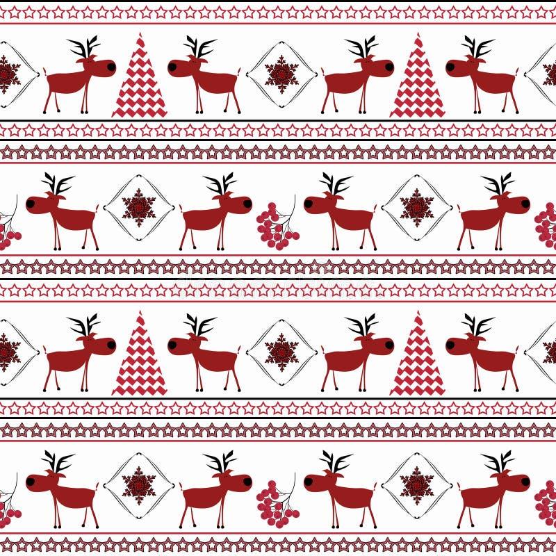 Sömlös jul gjorde randig modellen Roliga röda hjortar, julgranar, snöflingor på en ljus bakgrund vektor illustrationer