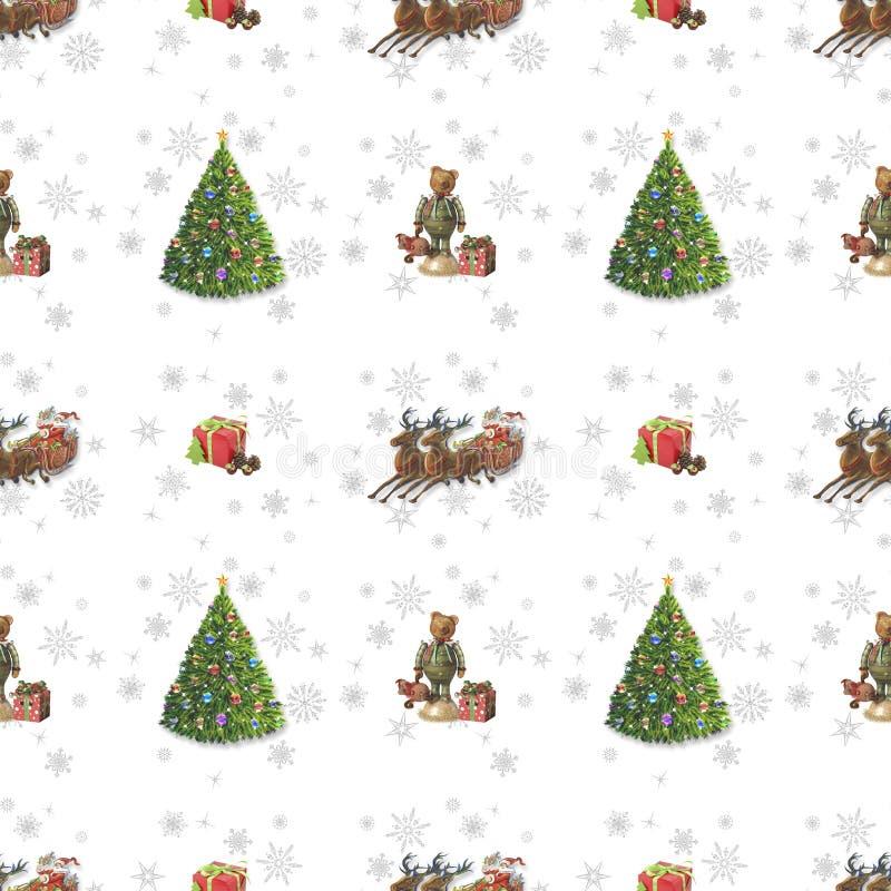 Sömlös julbakgrund med jultomten och ren - 2 arkivfoto