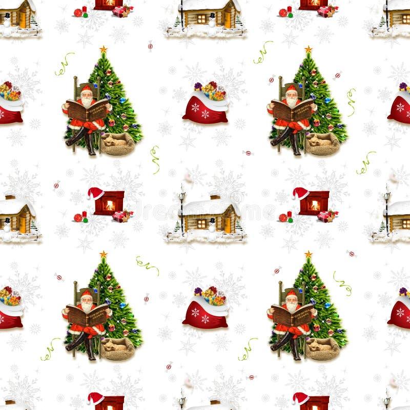 Sömlös julbakgrund med jultomten och ren - 3 arkivfoto