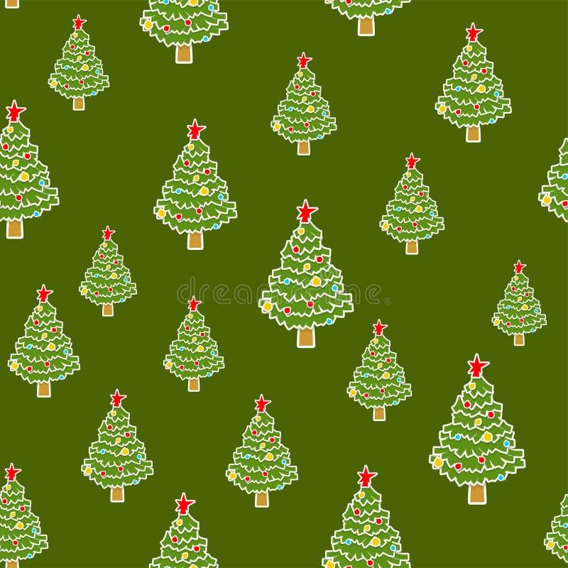 Sömlös julgranmodell extra bakgrundsformatxmas Gran för nytt år royaltyfri illustrationer