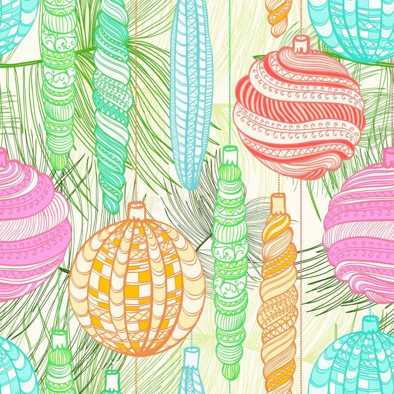 Sömlös julmodell med dekorativa bollar royaltyfri illustrationer