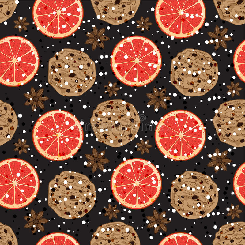 Sömlös julmodell med den amerikanska kakor, anis och grapefrukten Vektorn illustrerade doftande ferietegelplattabakgrund royaltyfri illustrationer