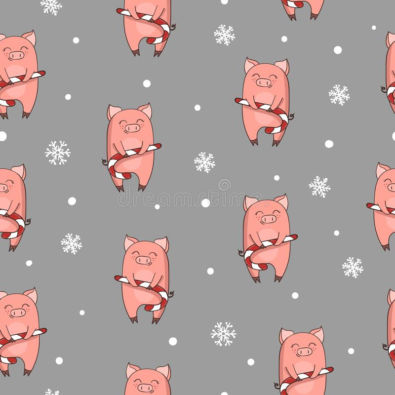 Sömlös julmodell med det gulliga tecknad filmsvinet med xmas-godisrottingen vektor illustrationer
