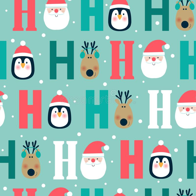 Sömlös julmodell med hjortar, pingvinet och jultomten huvud ho ho ho, stock illustrationer