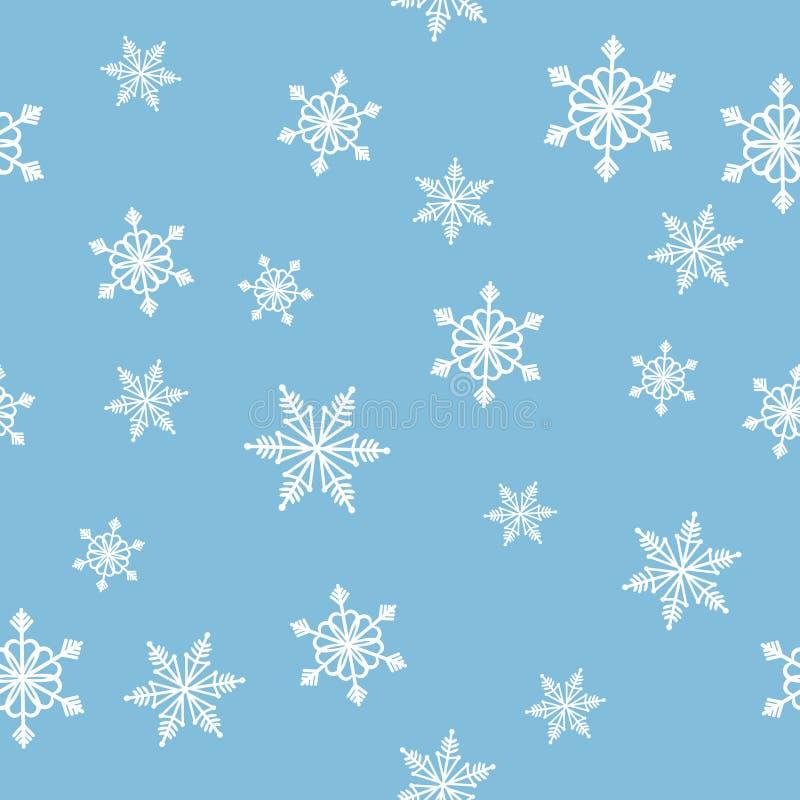 Sömlös julmodell med snöflingor på blå bakgrund royaltyfri illustrationer