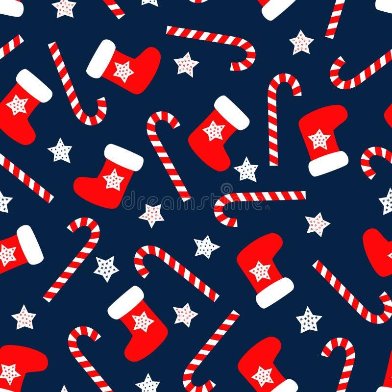Sömlös julmodell med xmas-sockor, stjärnor och godisrottingar royaltyfri illustrationer