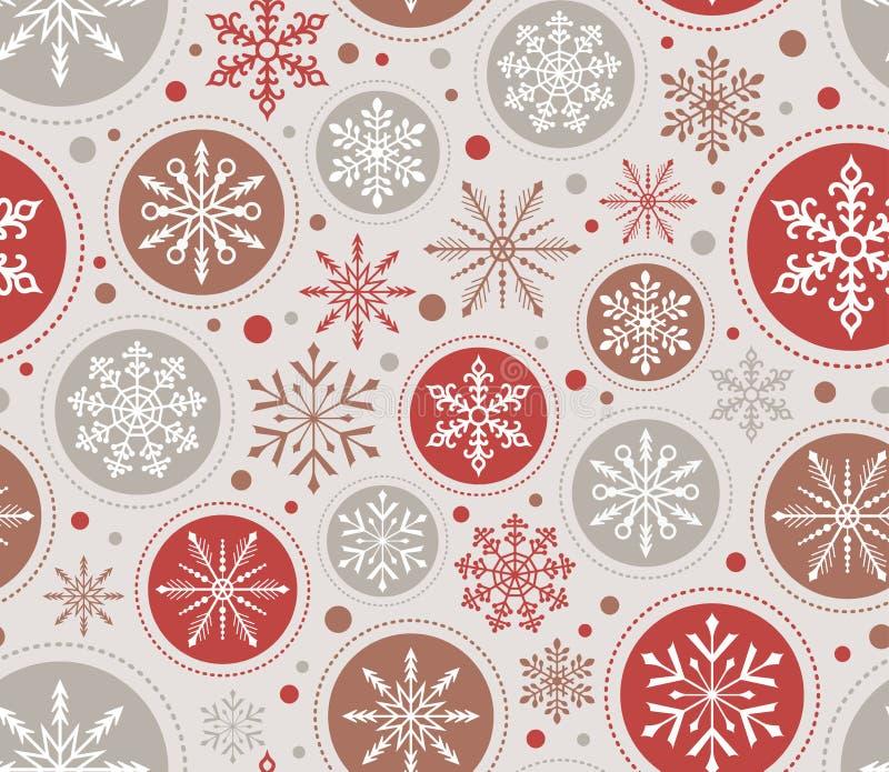 Sömlös julsnöflingabakgrund royaltyfri illustrationer