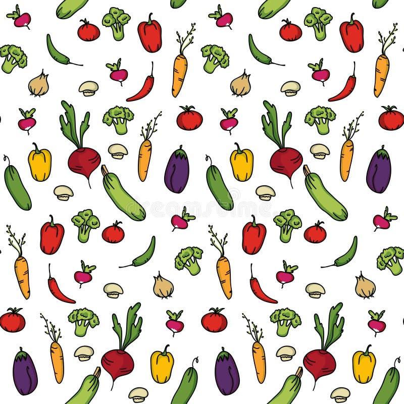 Sömlös kökbakgrund av grönsaker royaltyfri illustrationer