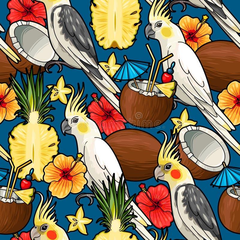 Sömlös kakadua och tropisk coctail stock illustrationer