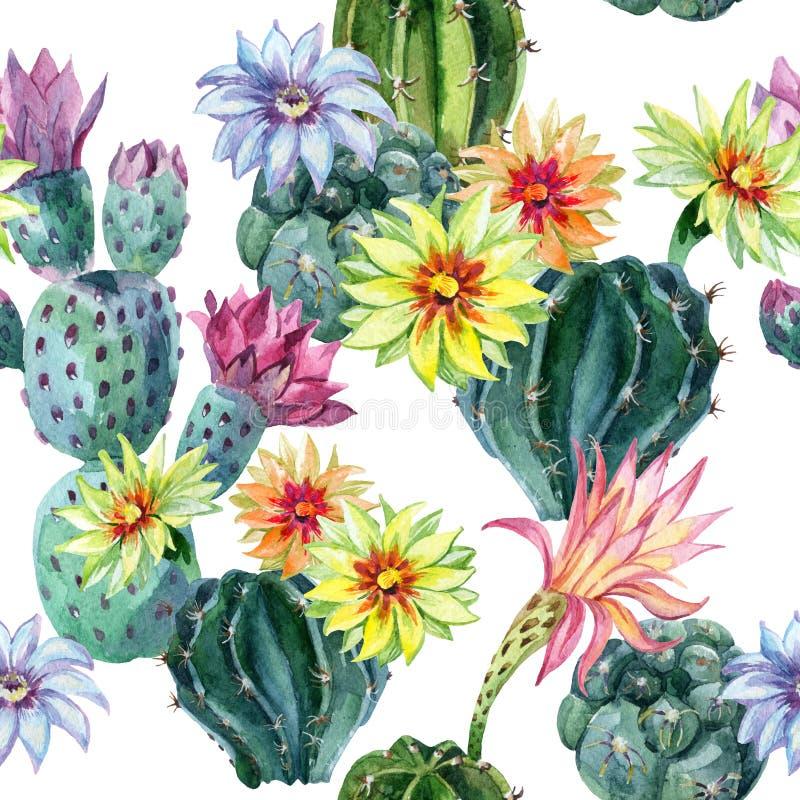 Sömlös kaktusmodell för vattenfärg royaltyfri illustrationer