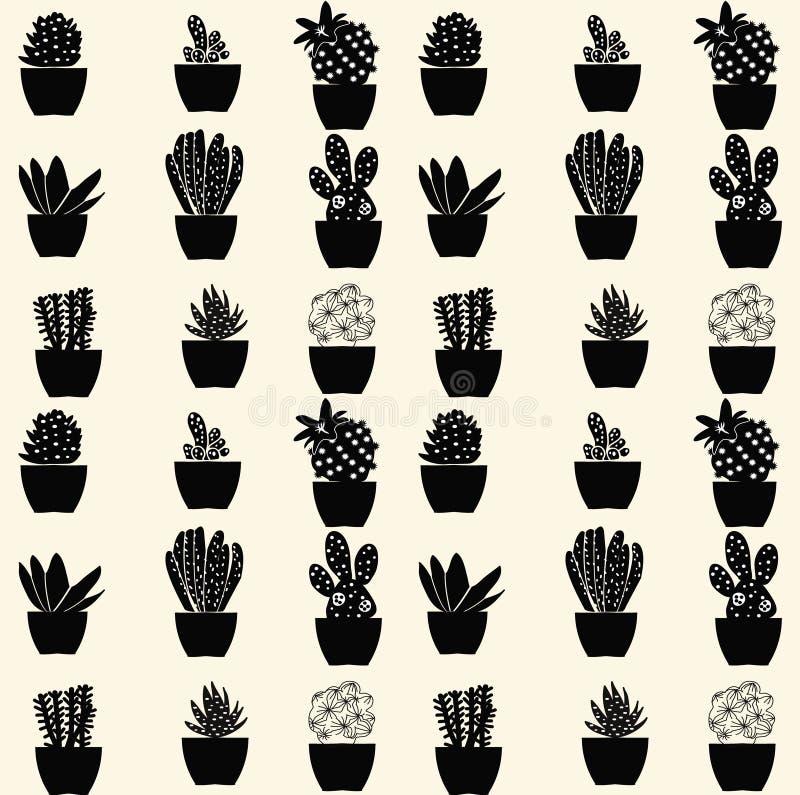 Sömlös kaktusmodell - illustration vektor illustrationer