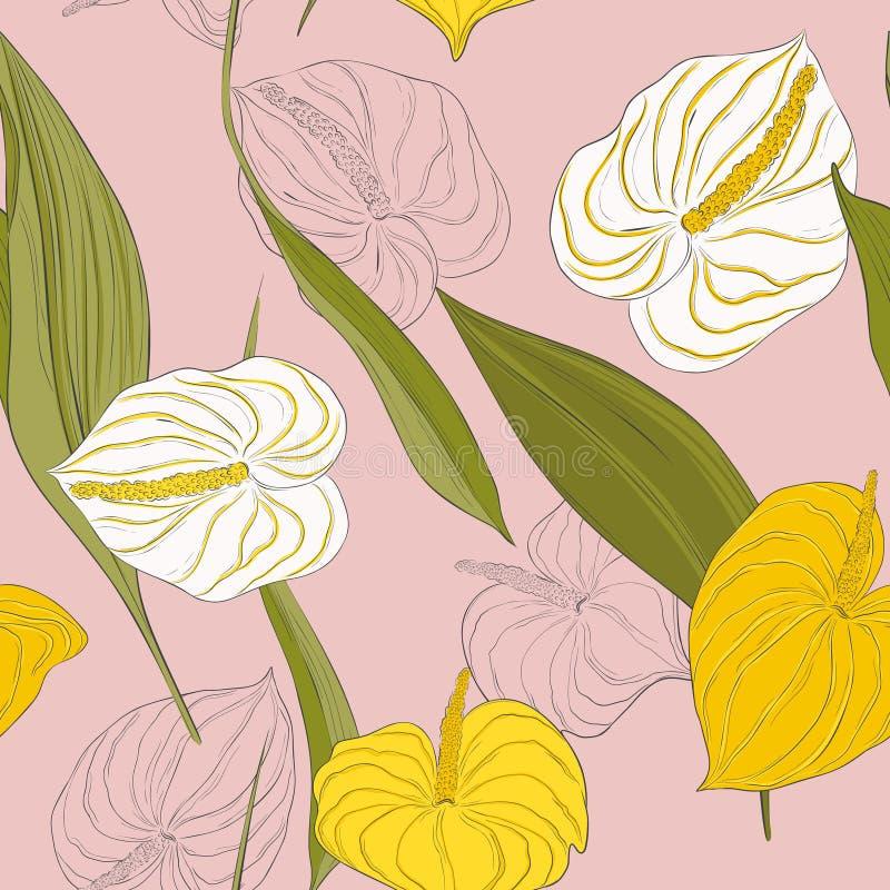 Sömlös kalamodell med blommor för gul och vit lilja för ljus - och gröna långa sidor på rosa bakgrund Modern calla stock illustrationer