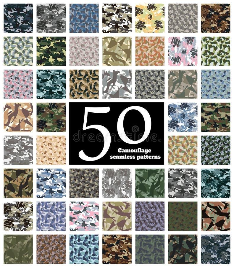 Sömlös kamouflagemodellvektor stock illustrationer