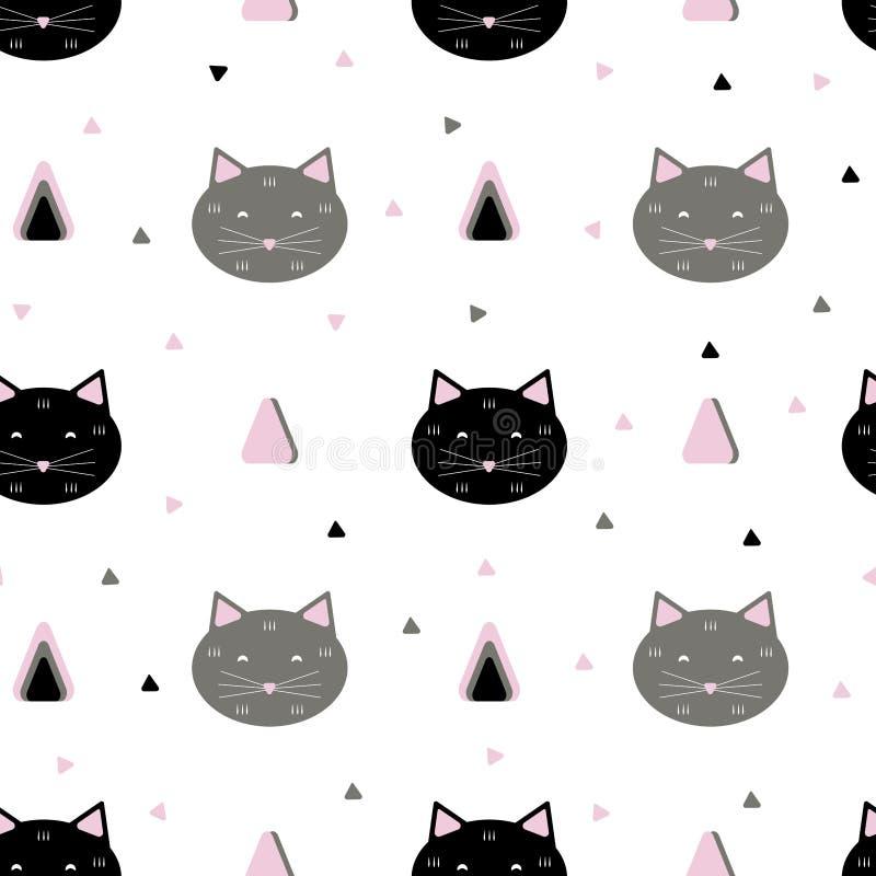 Sömlös kattmodell vektor illustrationer