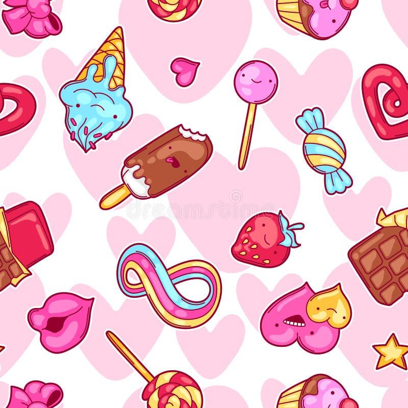 Sömlös kawaiimodell med sötsaker och godisar Galet sötsak-material i tecknad filmstil stock illustrationer