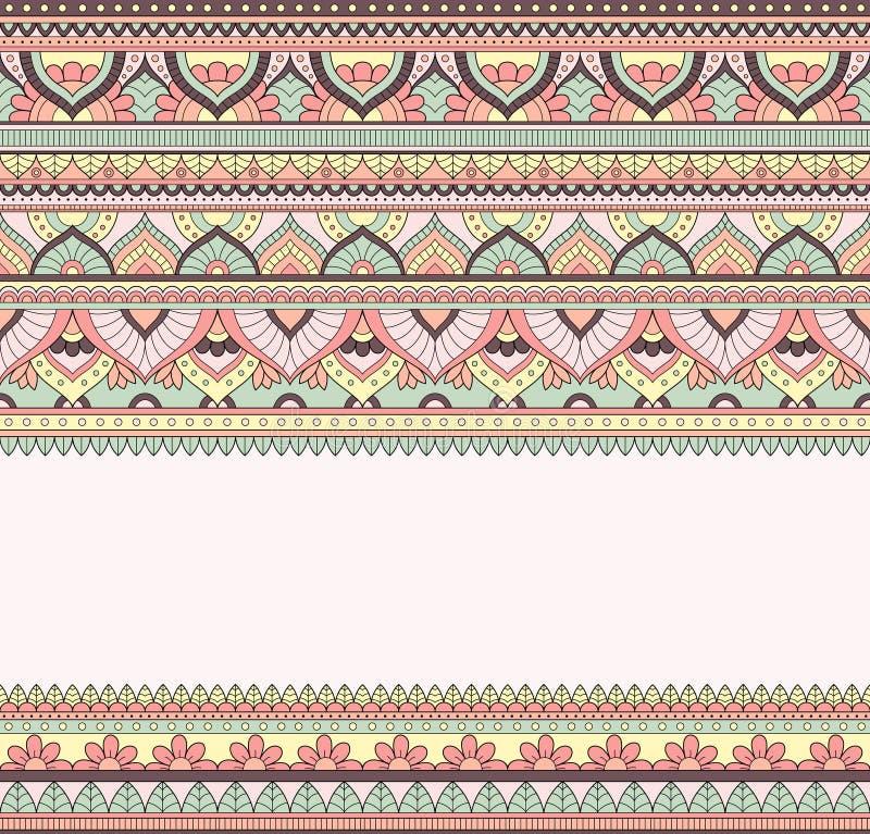 Sömlös klotterillustration, zentanglemodell, tapet, bakgrund, textur Indier Orment Design för utskrift på vektor illustrationer