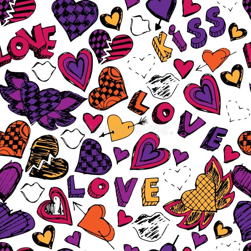 Sömlös klottermodell med hjärtor, förälskelse och kyssar tecknad hand stock illustrationer