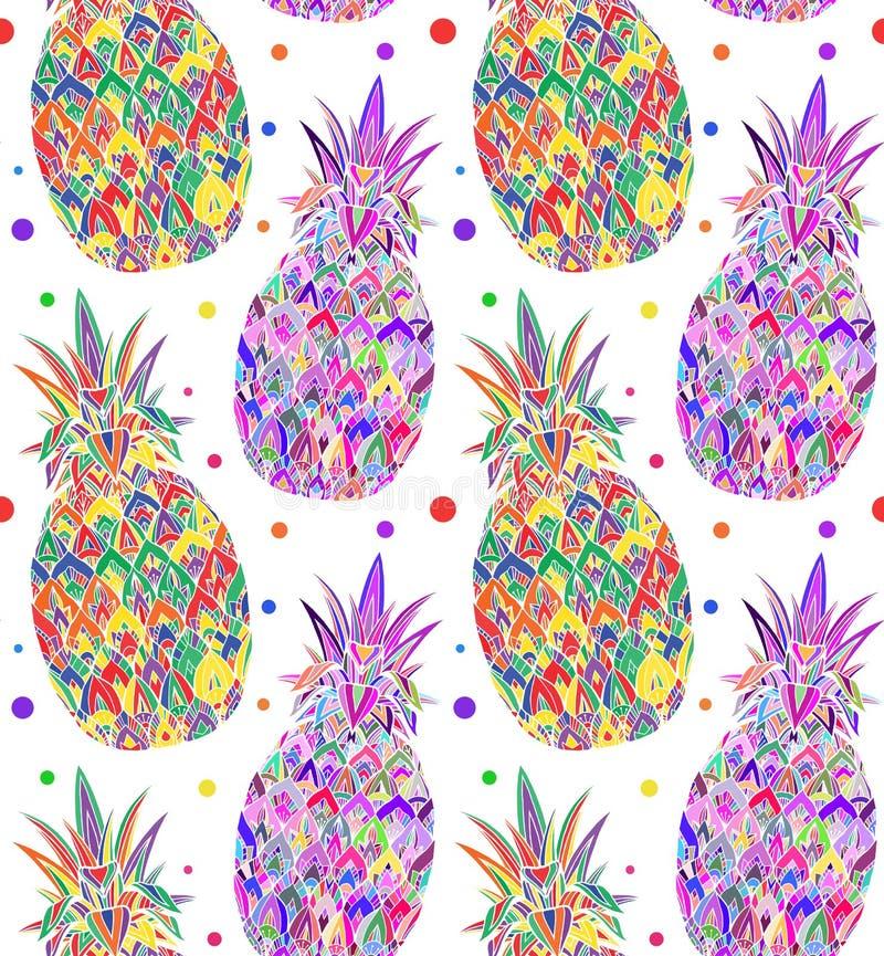 Sömlös klottertextur med ananas för popkonst stock illustrationer