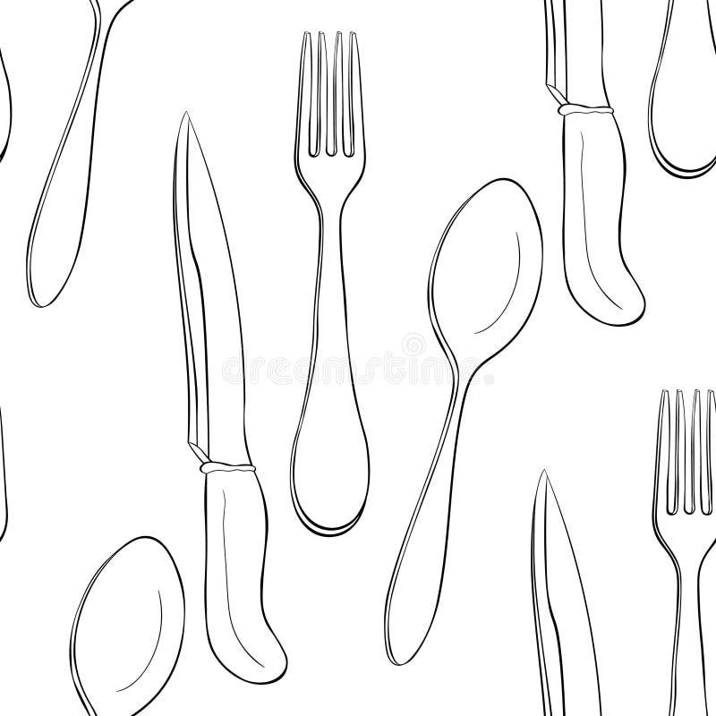 Sömlös kniv för gaffel för modellbesticksked också vektor för coreldrawillustration vektor illustrationer