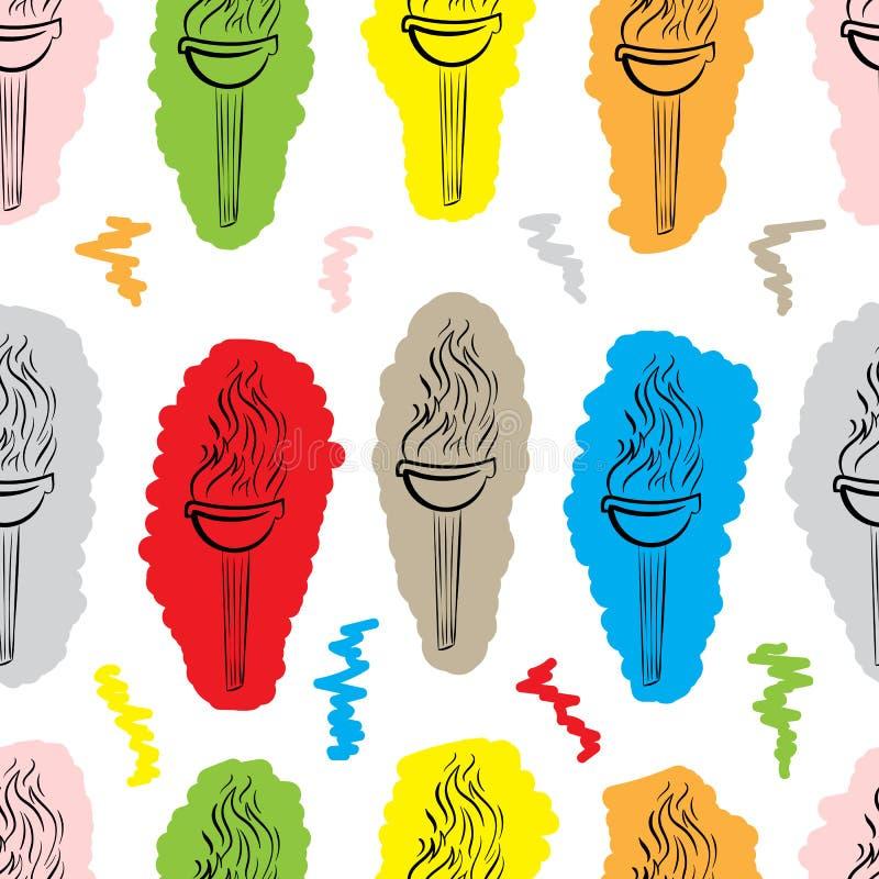 Sömlös konturfärgfackla royaltyfri illustrationer