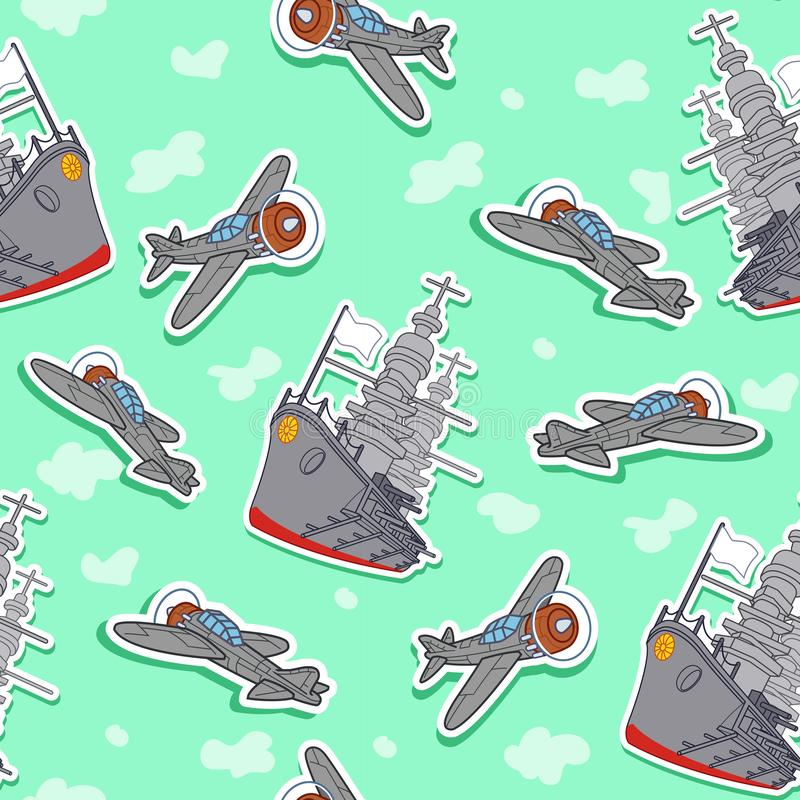 Sömlös krigsskepp- och flygplanmodell vektor illustrationer