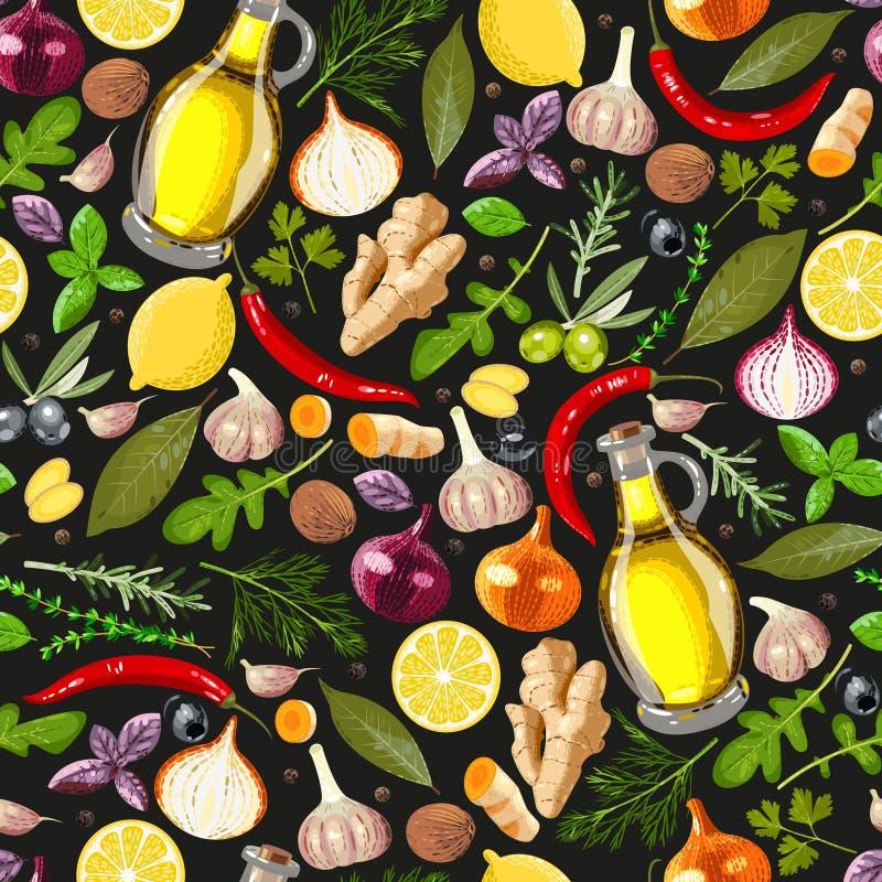 Sömlös krydda stock illustrationer