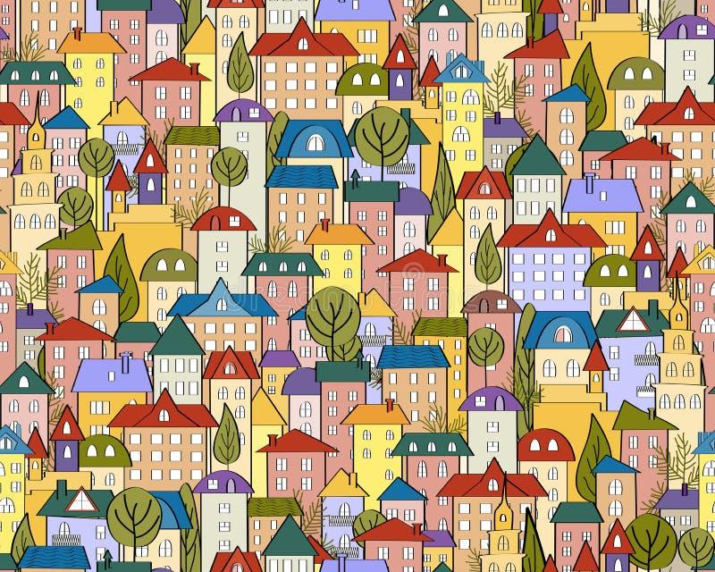 Sömlös kulör stadsbakgrund för vektor med gulliga hus och träd royaltyfri illustrationer